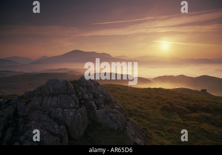 Eskdale Scafell from Blea Tarn Lake District Cumbria at dawn - Stock Photo