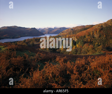 A view across Ullswater from the north shore looking southwest Cumbria - Stock Photo