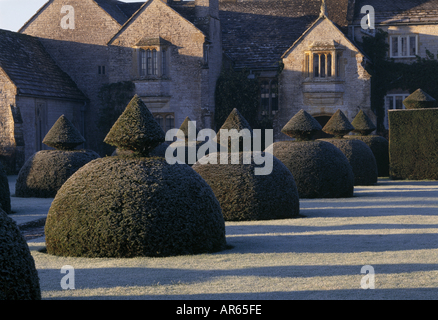 View of garden at Lytes Cary Manor Somerset taken in the winter - Stock Photo