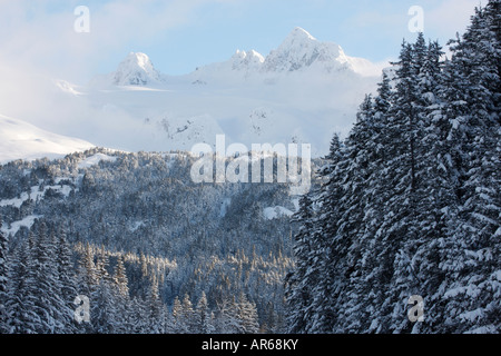 Snow covered mountains in the Chugach National Forest Seward Alaska - Stock Photo