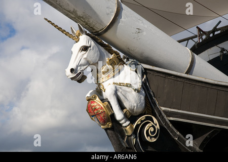 H.M. Frigate UNICORN figurehead, masthead ship bow, vessel, in Victoria Dock, Dundee Tayside, Scotland. The World's - Stock Photo