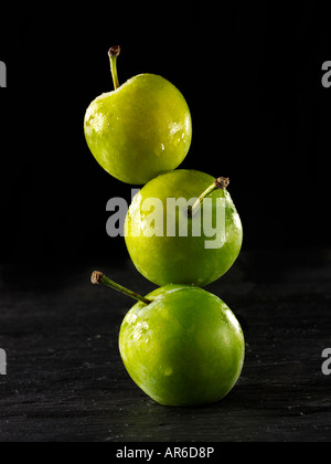 Pile of fresh organic Greengage green plums against a black background - Stock Photo