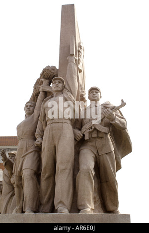 This statue of soldiers, sailors and Chinese people is the Tianamen Square Monument and stands in front of Mao's - Stock Photo