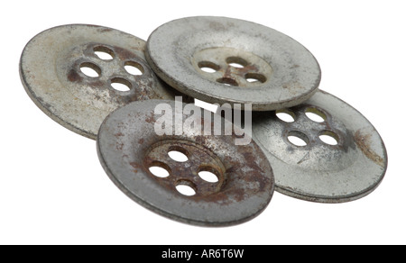 Metal buttons from WW2 army uniform - Stock Photo