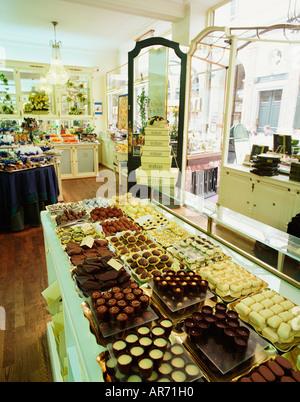 BELGIUM BRUSSELS BELGIAN CHOCOLATE SHOP - Stock Photo