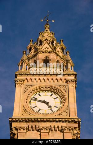 Clockface closeup detail Albert Memorial Clock tower Queen's Square, Belfast, in Northern Ireland - Stock Photo
