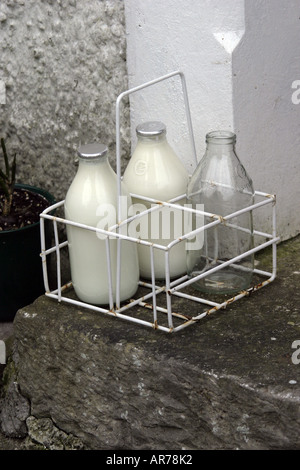Daily Doorstep Milk Delivery in the UK - Stock Photo