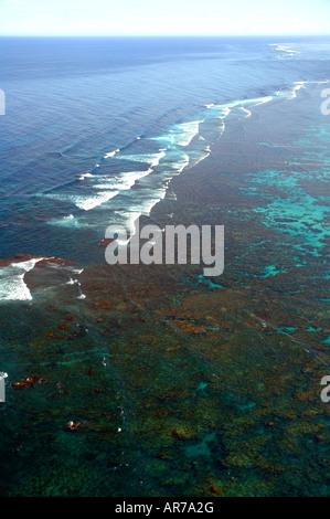 Aerial view of reef crest of Ningaloo Reef Marine Park Western Australia - Stock Photo