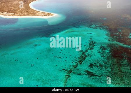 Aerial view of Point Maud, Ningaloo Reef Marine Park, Western Australia - Stock Photo