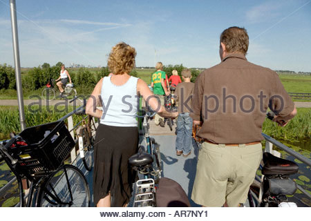family on there bicycle on a nice sunny Sunday Holland - Stock Photo