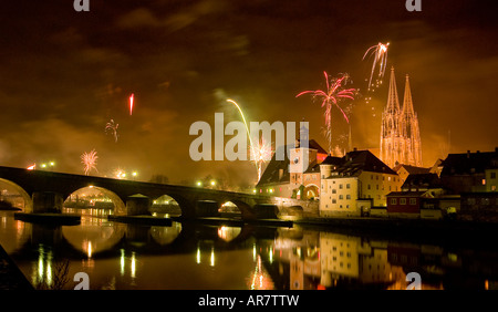 Fireworks at new years eve, Regensburg - Stock Photo