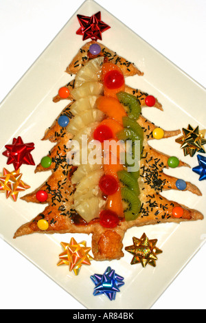 Christmas Fruit tart - Stock Photo