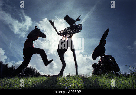 A camel a minotaur and a donkey created from recycled metal for a festival of animated theatre - Stock Photo