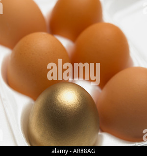 CLOSE UP OF ONE GOLD AND FIVE BROWN EGGS IN WHITE EGG BOX - Stock Photo