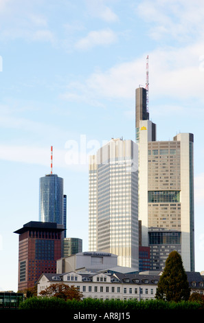 Financial buildings in Frankfurt city centre, Germany. Commerzbank and European Central Bank and Main Tower - Stock Photo
