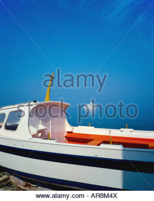 FISHING BOAT & CRUISE SHIP MYKONOS CYCLADES ISLANDS GREECE - Stock Photo