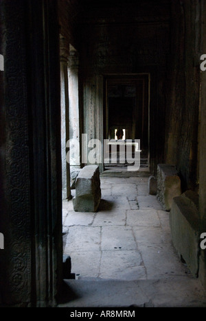 Passageway in the Bayon, The King's State Temple, Angkor Thom, Angkor Wat complex, Cambodia - Stock Photo