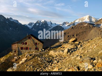 Aiguille rouge hut arolla Switzerland Europe alps - Stock Photo