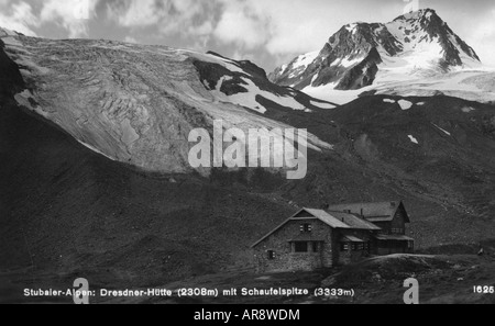 geography / travel, Austria, landscapes, Stubai Alps, Dresdner Hütte, Fernauferner, Schaufelferner and Schaufelspitze, - Stock Photo