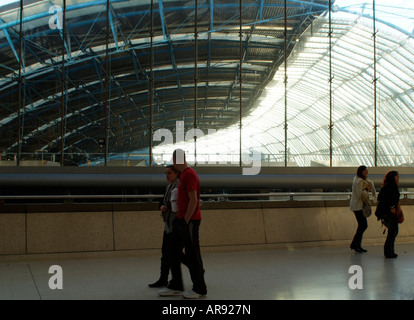 Waterloo Station London Curved Roof of Former Eurostar Terminal - Stock Photo