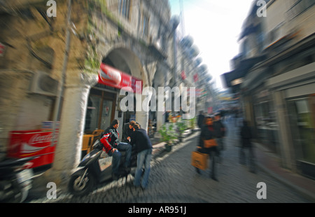 ISTANBUL, TURKEY. A busy narrow street outside the Grand Bazaar (Kapali Carsi). 2007. - Stock Photo