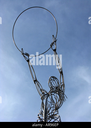 thanksgiving beacon sculpture beacon of hope by artist Andy Scott holding the loop aloft in thanksgiving square - Stock Photo