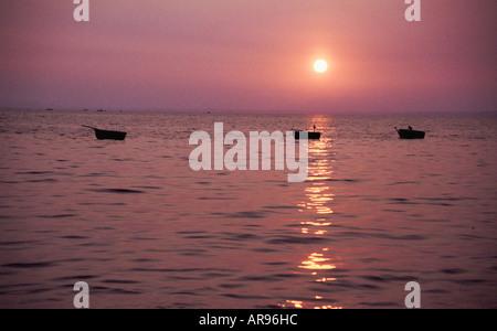 Vietnamese Fishing Boats At Dusk - Stock Photo