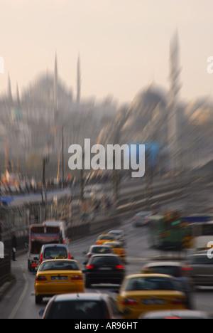 ISTANBUL, TURKEY. Morning rush hour traffic crossing the Galata Bridge from Karakoy in Beyoglu to Eminonu. 2007. - Stock Photo