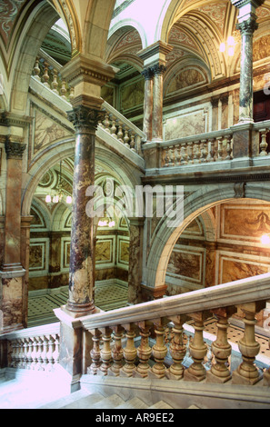 UK Glasgow Scotland Marble Staircase in City Chambers - Stock Photo