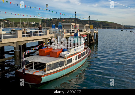 The falmouth to st mawes ferry berthed at the pier in falmouth cornwall england - Stock Photo