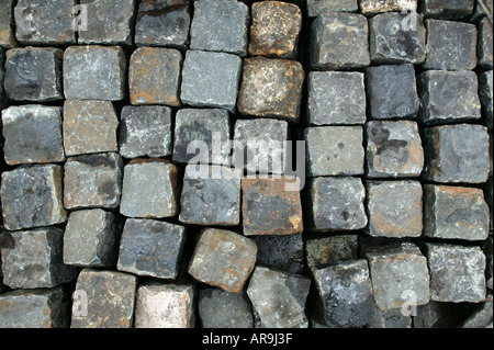 collection of granite road sets at solopark building  supplies yard - Stock Photo