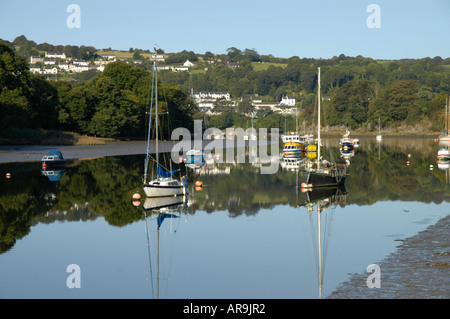 Boats on the River Teifi at Cardigan. St Dogmaels in the background - Stock Photo