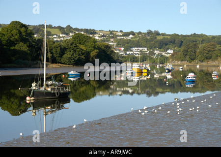 Boats on the Teifi at Cardigan. St Dogmaels in the background - Stock Photo