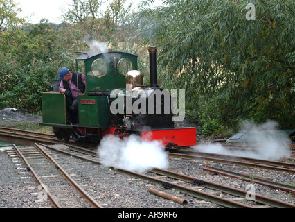 The Lady Augusta Miniature Steam Engine at Heatherslaw Mill Light Railway Northumberland England United Kingdom - Stock Photo