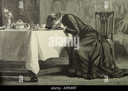 Victorian lady woman crying broken hearted at the breakfast table drawn by Luke Fildes and published in 1880 - Stock Photo