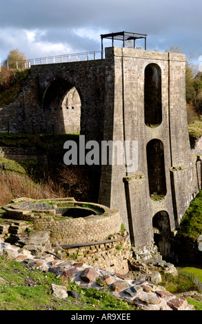 Water Balance Tower constructed in 1839 viewed over a Blast Furnace at Blaenafon Ironworks Gwent South Wales UK - Stock Photo