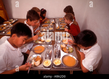 SCHOOL DINNERS HEALTHY BALANCED SERVING MEAL Group of multiracial junior students having lunch in school canteen - Stock Photo