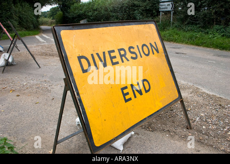 Diversion end road sign - Stock Photo