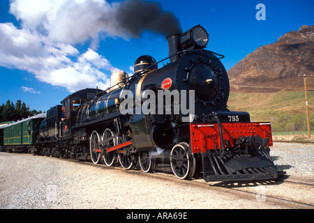Historic Kingston Flyer Steam Train at Fairlight Southland South Island New Zealand - Stock Photo