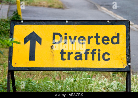 Temporary diverted traffic moveable road sign - Stock Photo