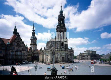 Dresden, Blick von der Brühlschen Terrasse auf Schloß, Hofkirche und Semperoper - Stock Photo