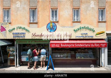 Harboufront sandwich shop, Place des Portes, St Florent, The Nebbio, Corsica, France - Stock Photo