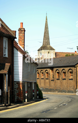 Houses and St Martins Church in Eynsford Kent - Stock Photo
