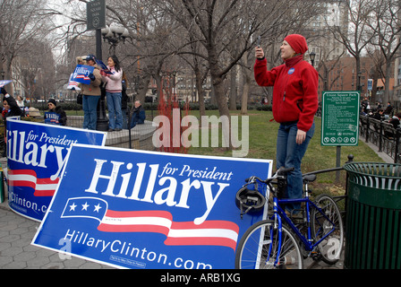 Supporters of Democratic presidential candidate Sen Hillary Rodham Clinton rally in Union Square Park in New York - Stock Photo