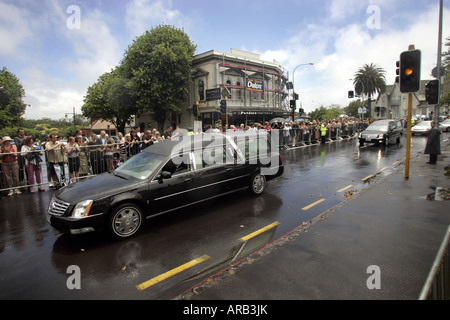 The cortege moves through the streets of Parnell after Sir Edmund Hillary's state funeral in Auckland New Zealand - Stock Photo