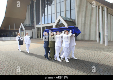 Sir Edmund Hillary's casket is brought from the Cathedral for the state funeral service at St Mary's Church Auckland - Stock Photo