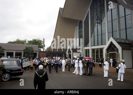 Sir Edmund Hillary's casket is carried to a hearse after the state funeral at Auckland New Zealand - Stock Photo
