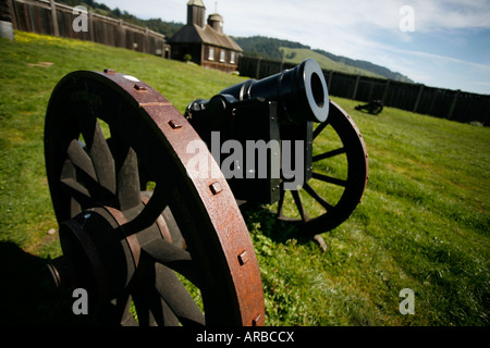 Antique canon inside a fort on green grass with building in the background - Stock Photo