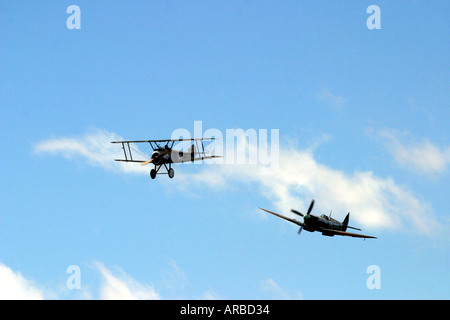 Sopwith Camel and Supermarine Spitfire WWI and WWII Fighter Planes - Stock Photo