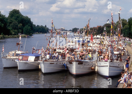 A motor cruiser on the River Thames at Remenham in Berkshire England UK - Stock Photo